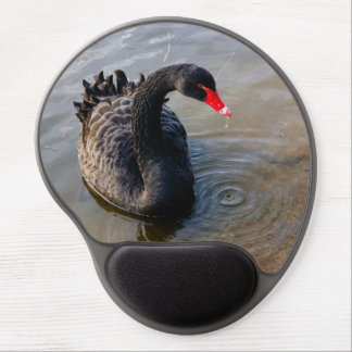 Black Swan Swimming In Water, Animal Photograph Gel Mouse Pad