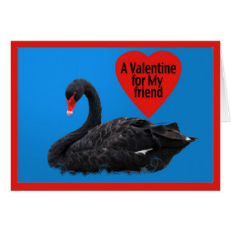 Black Swan Valentine Card for Friend
