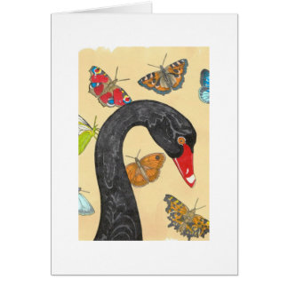 Black Swan with Butterflies Card