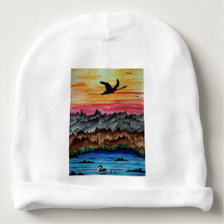 Black swans at sunset baby beanie