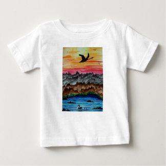 Black swans at sunset baby T-Shirt