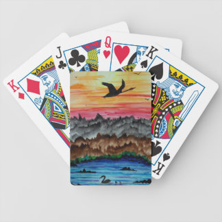 Black swans at sunset bicycle playing cards