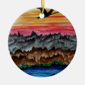 Black swans at sunset christmas ornament