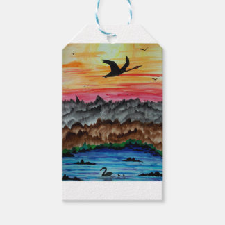 Black swans at sunset gift tags