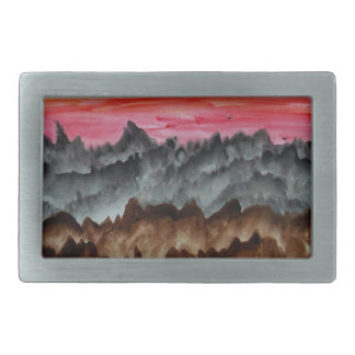 Black swans at sunset rectangular belt buckles
