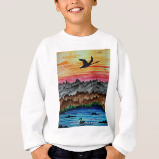 Black swans at sunset sweatshirt