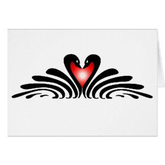 BLACK SWANS & HEART by SHARON SHARPE Greeting Card