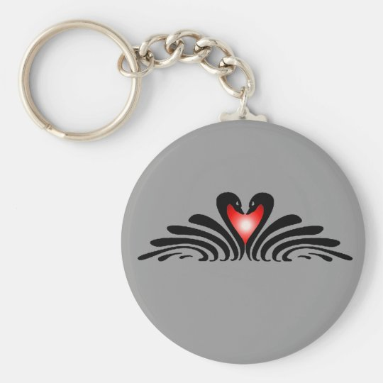 BLACK SWANS & HEART by SHARON SHARPE Key Ring