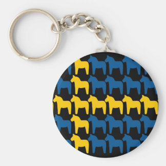 Black Sweden Dala Flag Key Ring