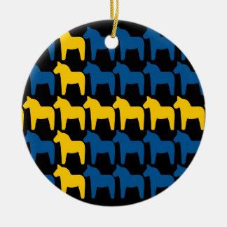Black Sweden Dala Flag Round Ceramic Decoration