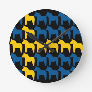 Black Sweden Dala Flag Round Clock