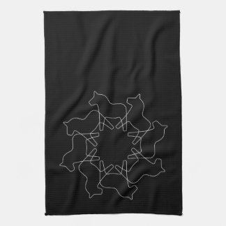 Black Swedish Dala Horse Snowflake Kitchen Towels