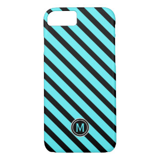 Black Swimming Pool Blue Diagonal Stripe Monogram iPhone 8/7 Case