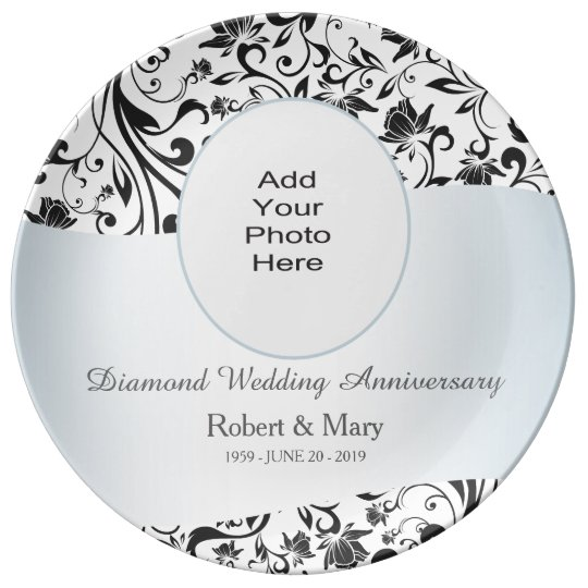 Black Swirl Diamond 60th Wedding Anniversary Photo Plate