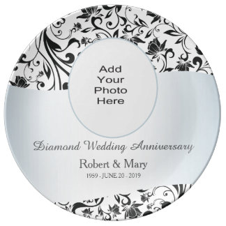 Black Swirl Diamond 60th Wedding Anniversary Photo Porcelain Plates