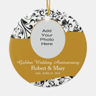 Black Swirl & Gold 50th Wedding Anniversary Photo Christmas Ornament