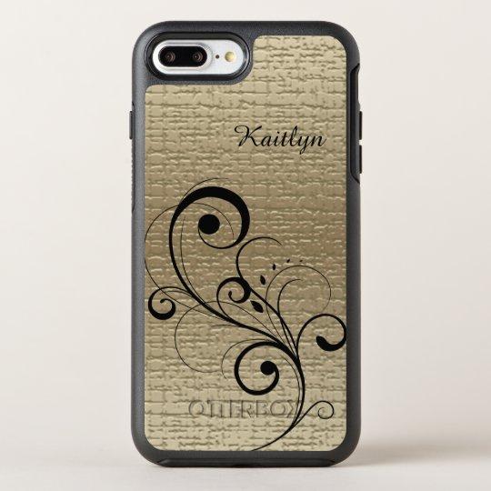 Black Swirl Gold Personalised OtterBox Symmetry iPhone 8