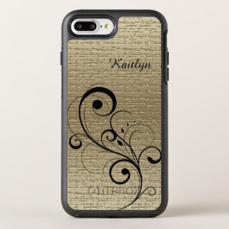Black Swirl Gold Personalized OtterBox Symmetry iPhone 8 Plus/7 Plus Case