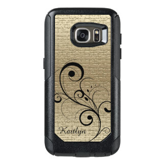 Black Swirl Gold Texture Personalized OtterBox Samsung Galaxy S7 Case