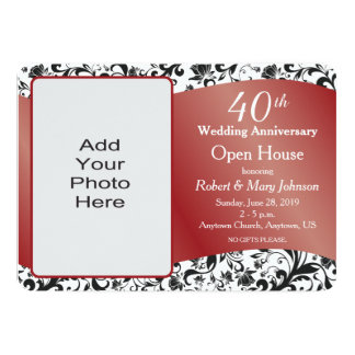 Black Swirl & Ruby 40th Wedding Anniversary Card