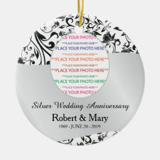 Black Swirl & Silver 25th Wedding Anniversary Double-Sided Ceramic Round Christmas Ornament