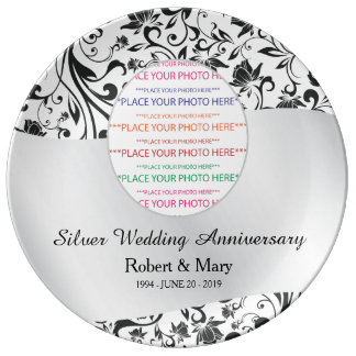 Black Swirl & Silver 25th Wedding Anniversary Porcelain Plate