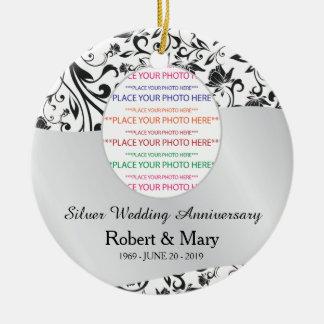 Black Swirl & Silver 25th Wedding Anniversary Round Ceramic Decoration