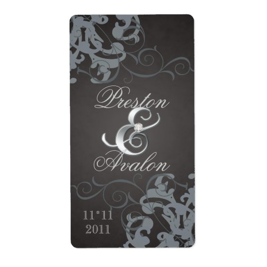 Black Swirl Silver Jewelled Wedding Wine Label Shipping Label