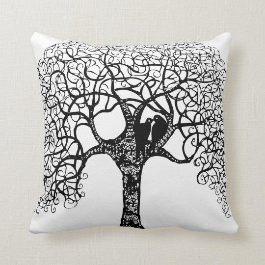 Black Swirl Tree Love Bird Choose Background Cushion