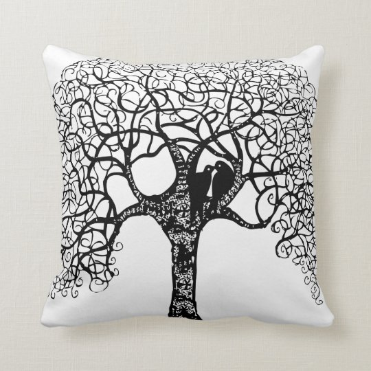 Black Swirl Tree Love Bird Choose Background Throw Pillow