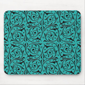 Black Swirling Vines over Turquoise Mouse Pad