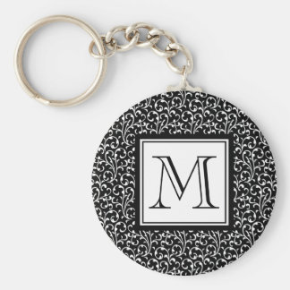Black Swirls, Custom Monogram, Your Initial Basic Round Button Key Ring