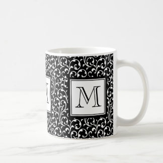 Black Swirls, Custom Monogram, Your Initial Coffee Mug