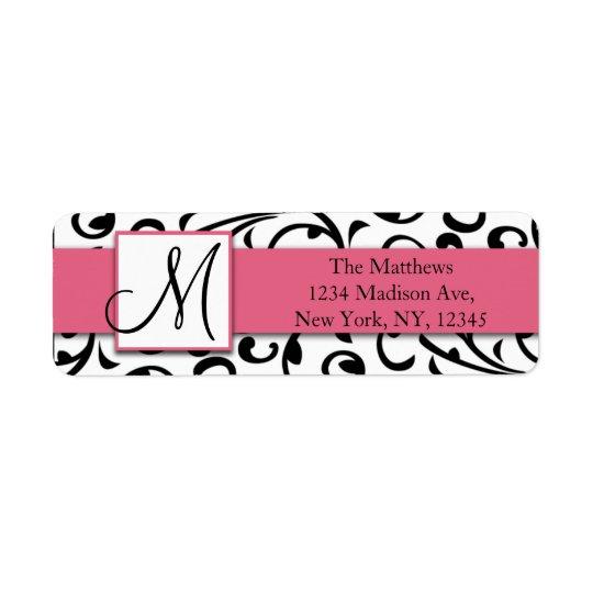 Black Swirls Damask Pink Return Address Labels