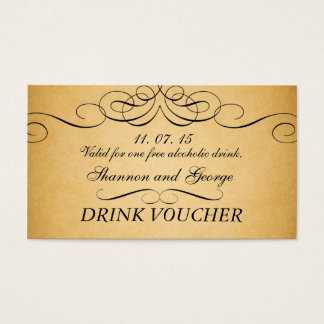 Black Swirls Damask Vintage Wedding Drink Voucher Business Card