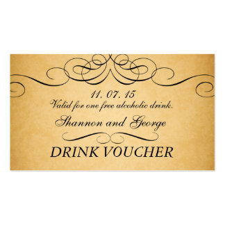 Black Swirls Damask Vintage Wedding Drink Voucher Pack Of Standard Business Cards