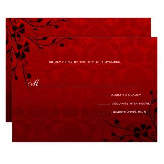 Black Swirls Lighter Red Metallic Damask Wedding Card