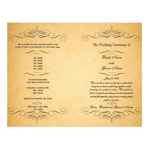 Black Swirls Vintage Wedding Program Full Color Flyer