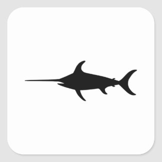 Black Swordfish Square Sticker