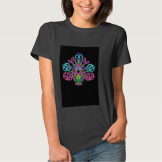 black T-shirt with a flower pattern