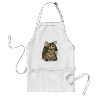 Black Tabby Maine Coon Cat Apron