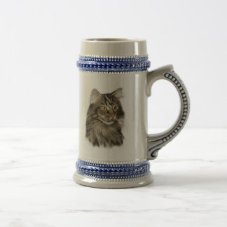 Black Tabby Maine Coon Cat Beer Stein