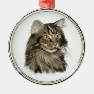 Black Tabby Maine Coon Cat Christmas Ornament