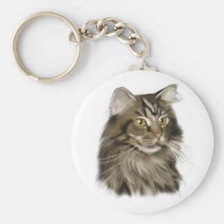 Black Tabby Maine Coon Cat Key Ring