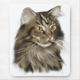 Black Tabby Maine Coon Cat Mouse Mat