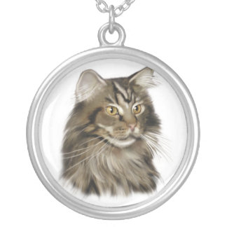 Black Tabby Maine Coon Cat Silver Plated Necklace