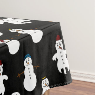 Black Tablecloth white cute snowman Christmas