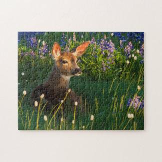 Black-tail Deer Fawn, alpine wildflowers Jigsaw Puzzle