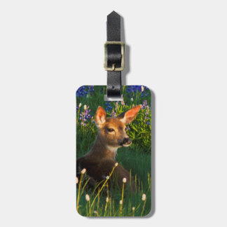 Black-tail Deer Fawn, alpine wildflowers Luggage Tag
