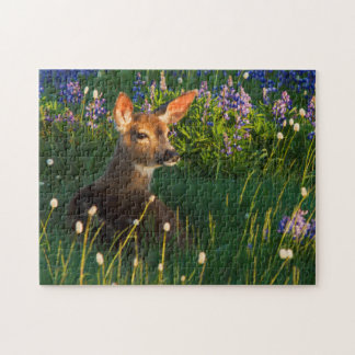 Black-tail Deer Fawn, alpine wildflowers Puzzles